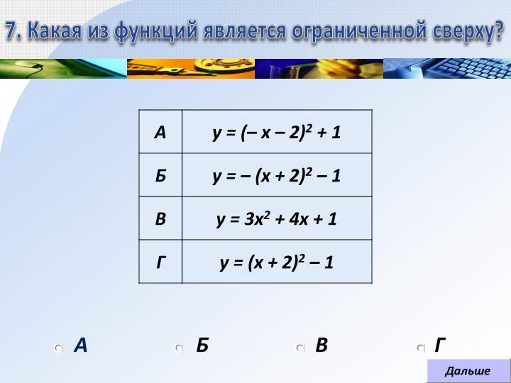 7. Какая из функций является ограниченной сверху?