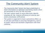 the community alert system