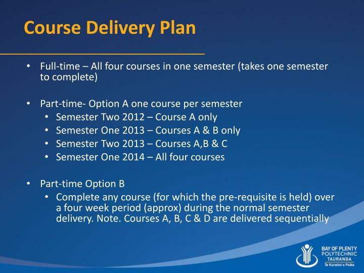 Course Delivery Plan