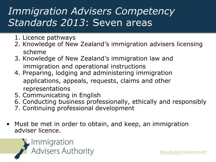 Immigration Advisers Competency Standards 2013
