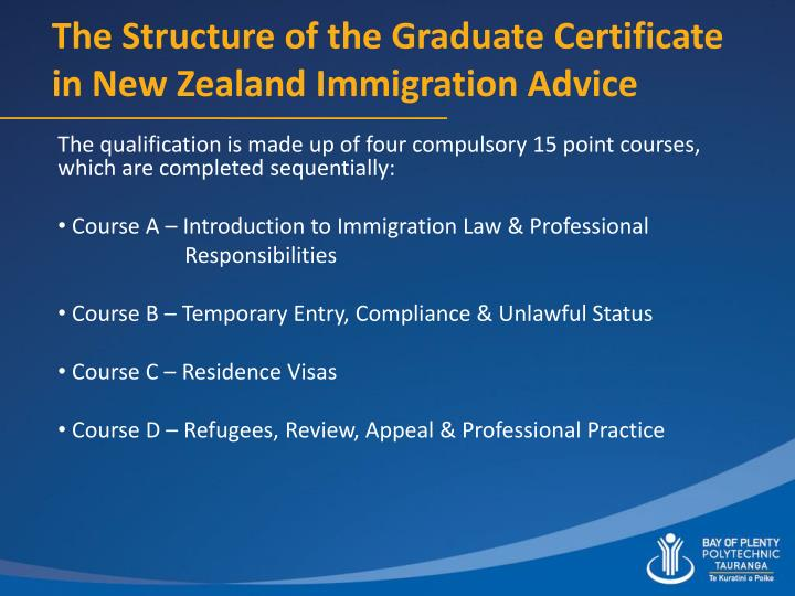 The Structure of the Graduate Certificate in New Zealand Immigration Advice