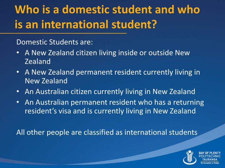 Who is a domestic student and who is an international student?