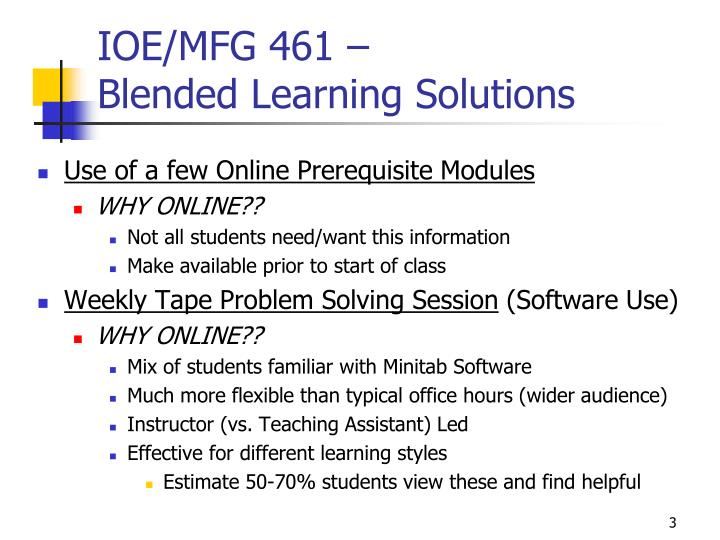 Ioe mfg 461 blended learning solutions