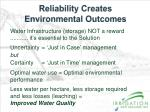 reliability creates environmental outcomes