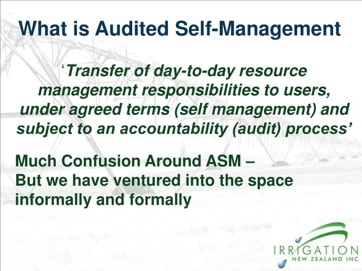 What is Audited Self-Management