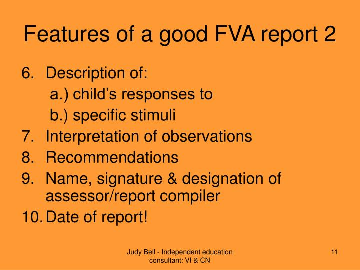 Features of a good FVA report 2