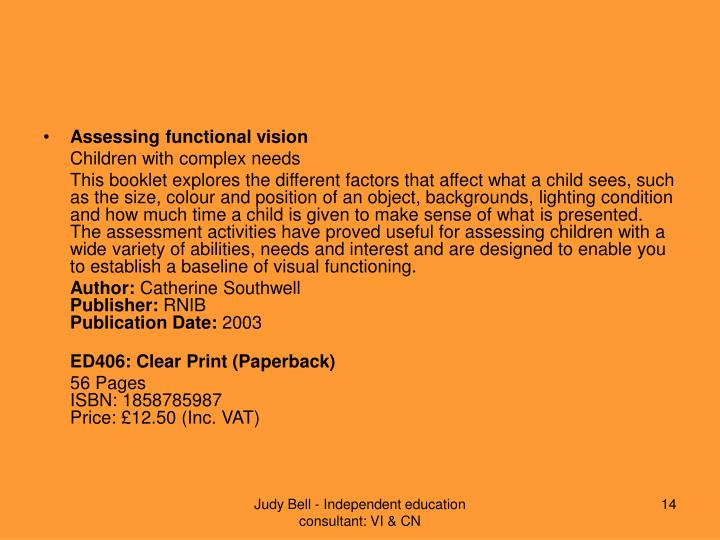 Assessing functional vision