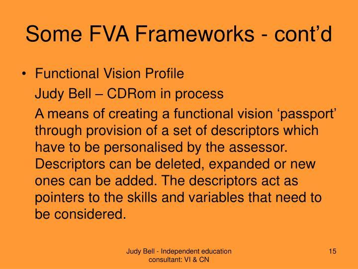 Some FVA Frameworks - cont'd