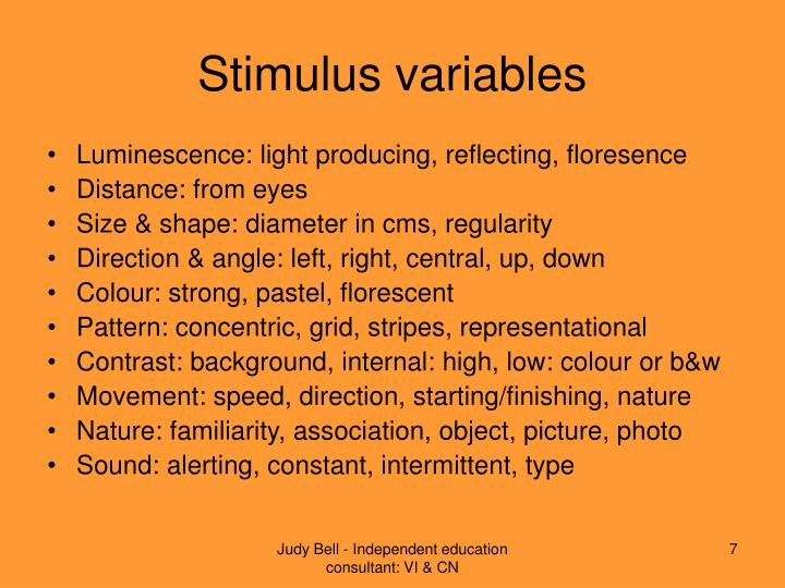 Stimulus variables