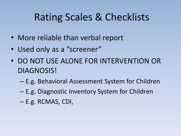 Rating Scales & Checklists