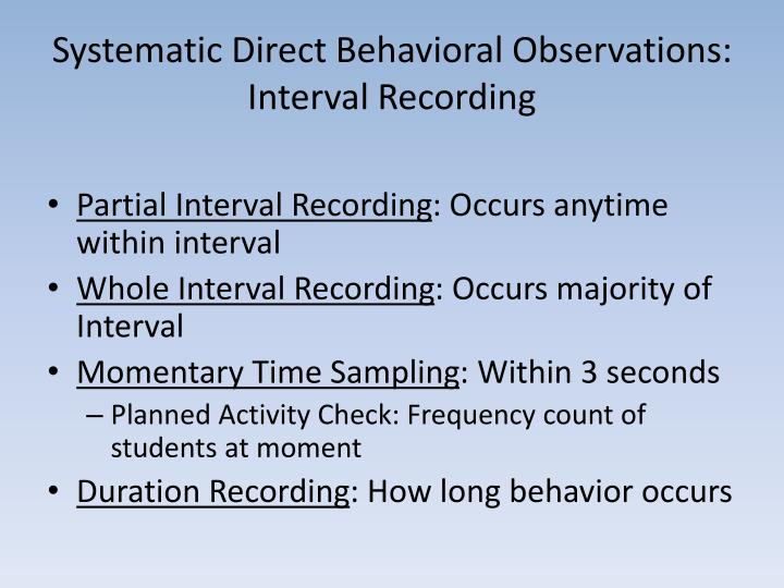 Systematic Direct Behavioral Observations: Interval Recording