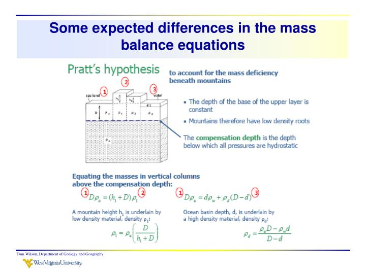 Some expected differences in the mass balance equations