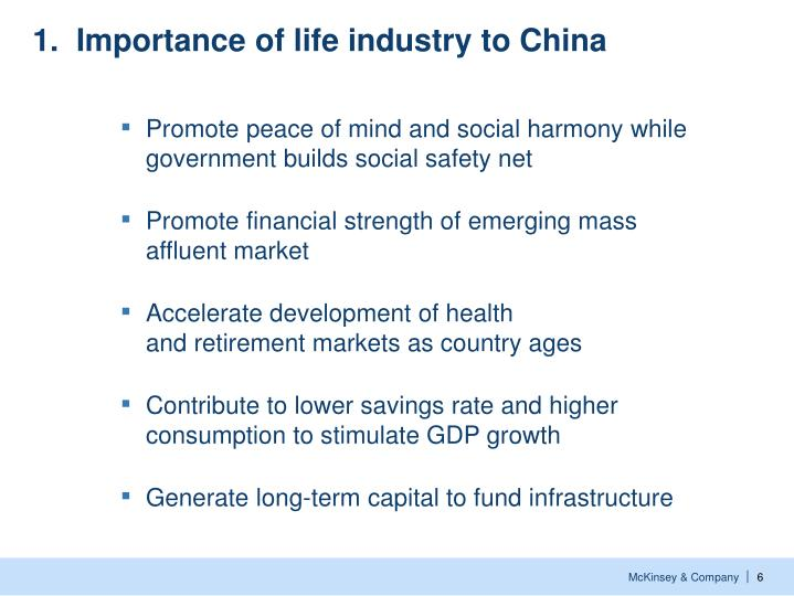 1.  Importance of life industry to China