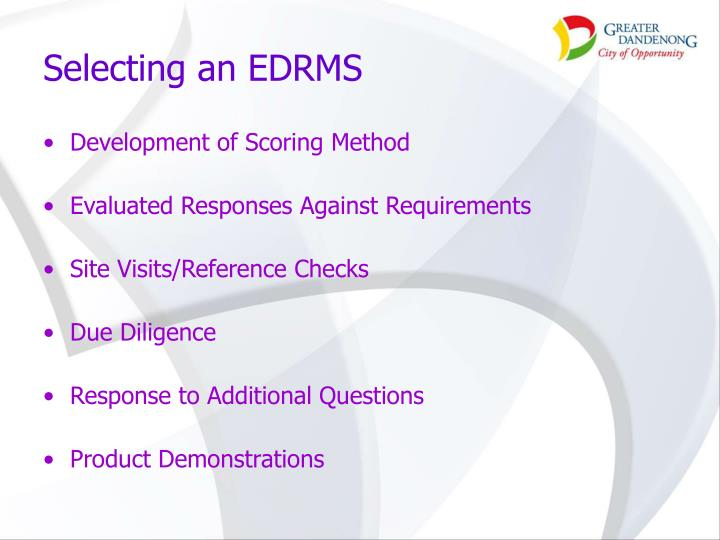 Selecting an EDRMS