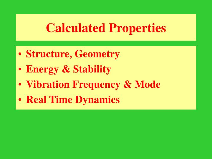 Calculated Properties