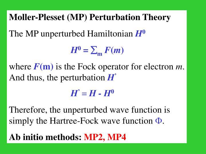 Moller-Plesset (MP) Perturbation Theory