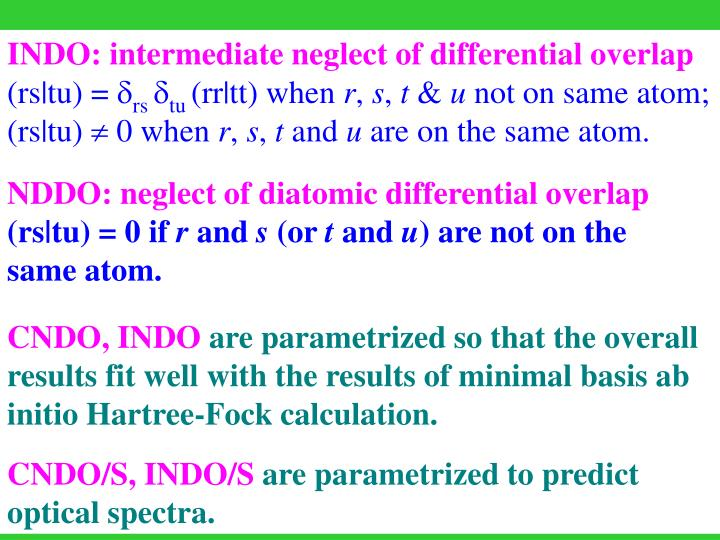 INDO: intermediate neglect of differential overlap
