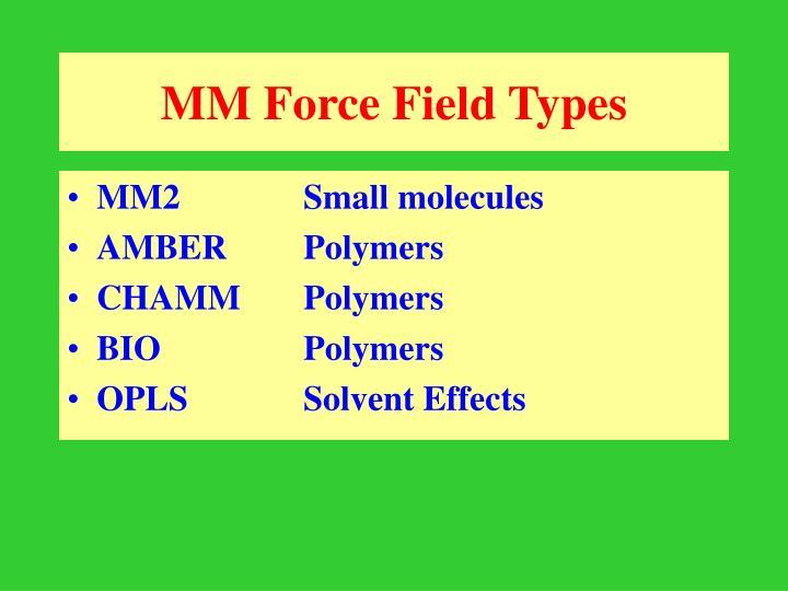 MM Force Field Types