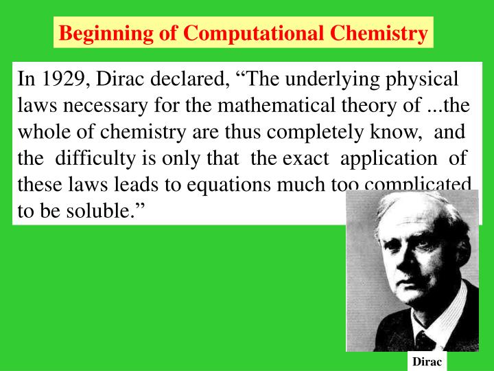 Beginning of Computational Chemistry