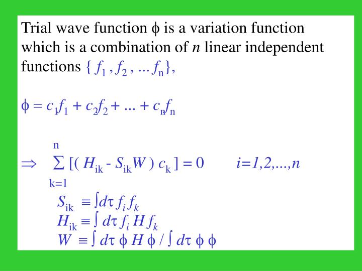 Trial wave function