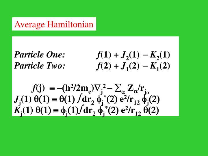 Average Hamiltonian