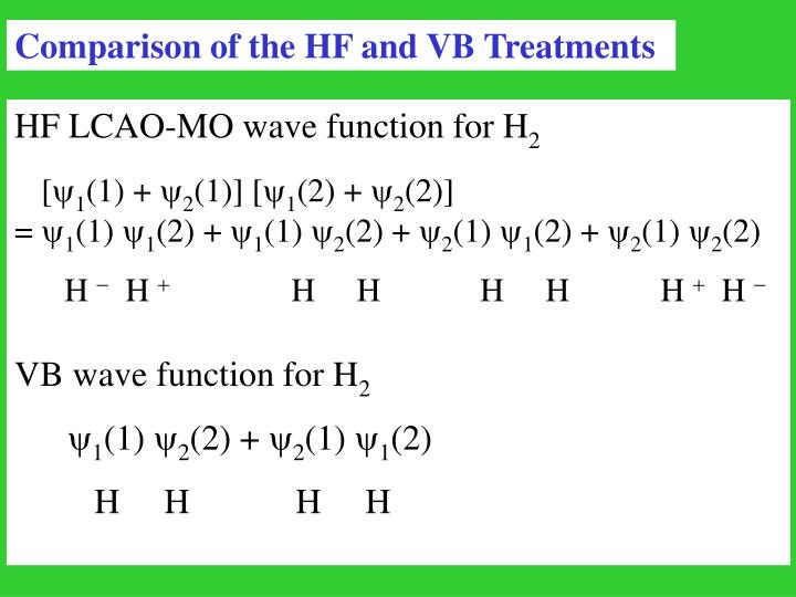 Comparison of the HF and VB Treatments