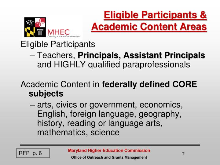 Eligible Participants &  Academic Content Areas