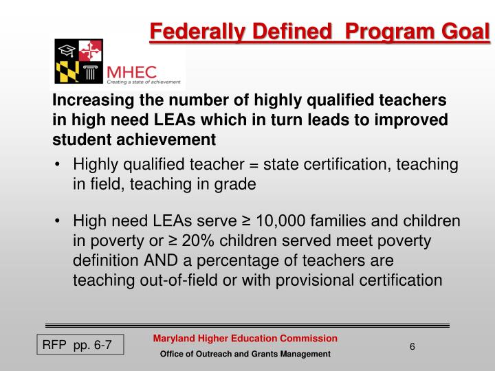 Federally Defined  Program Goal