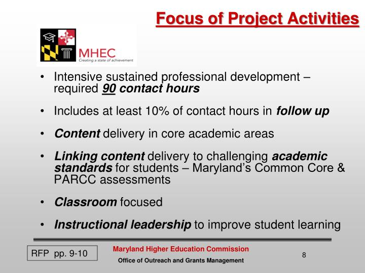 Focus of Project Activities