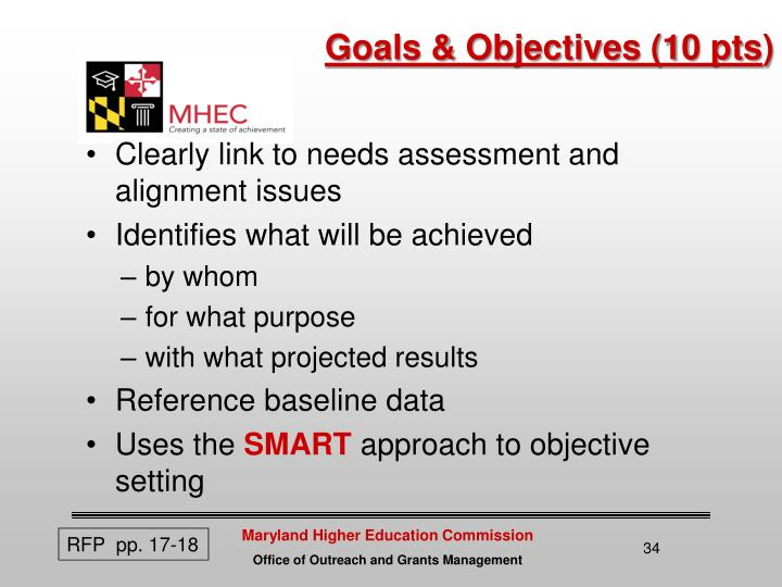 Goals & Objectives (10 pts