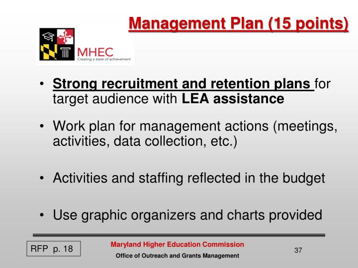 Management Plan (15 points)