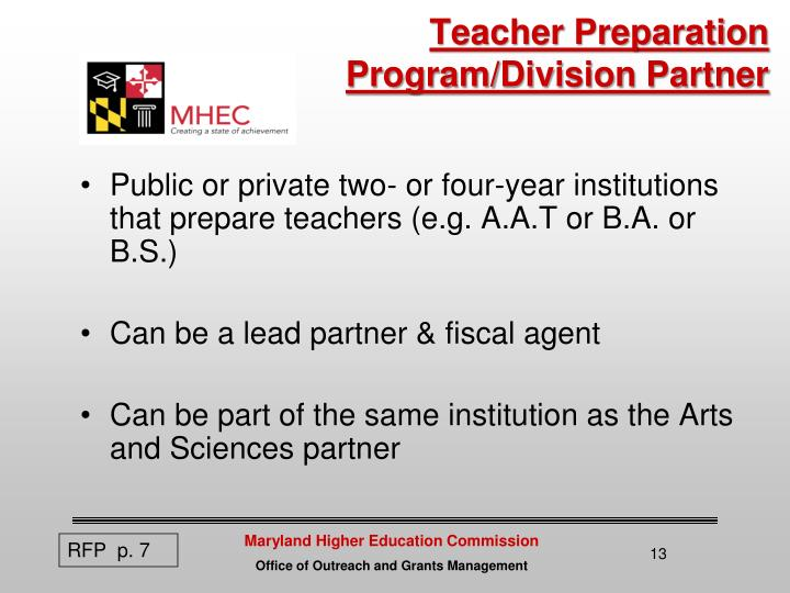 Teacher Preparation Program/Division Partner