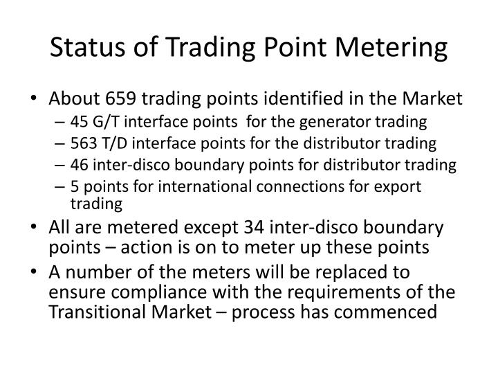 Status of Trading Point Metering