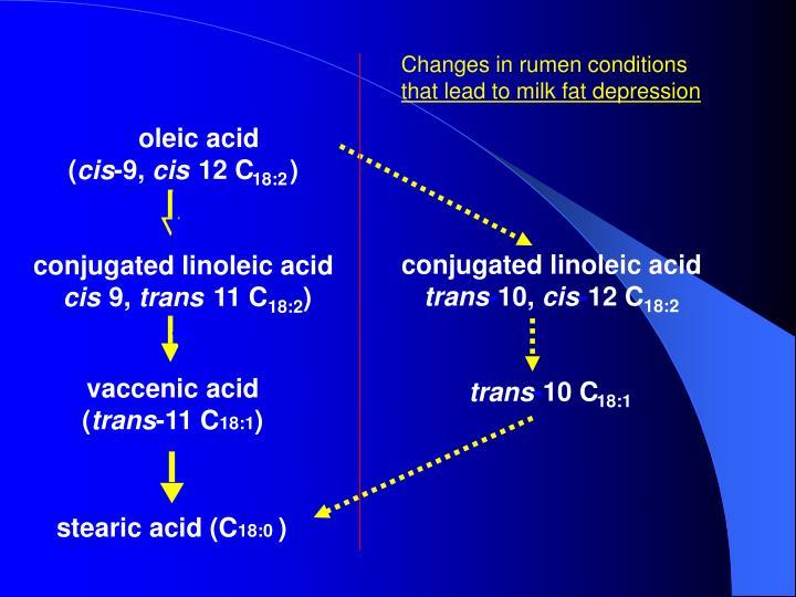 Changes in rumen conditions