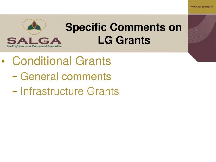 Specific Comments on LG Grants