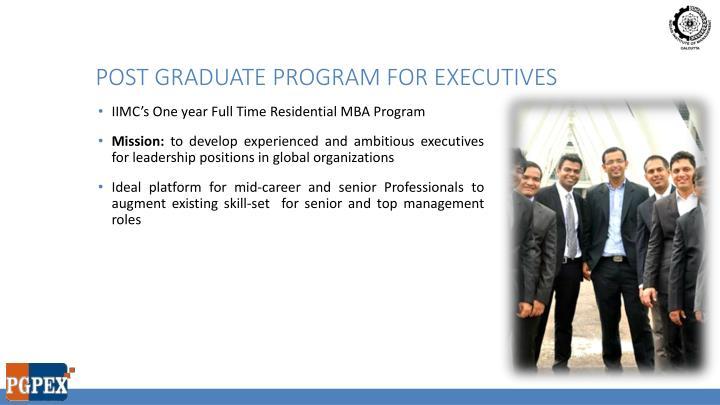 Post graduate program for executives