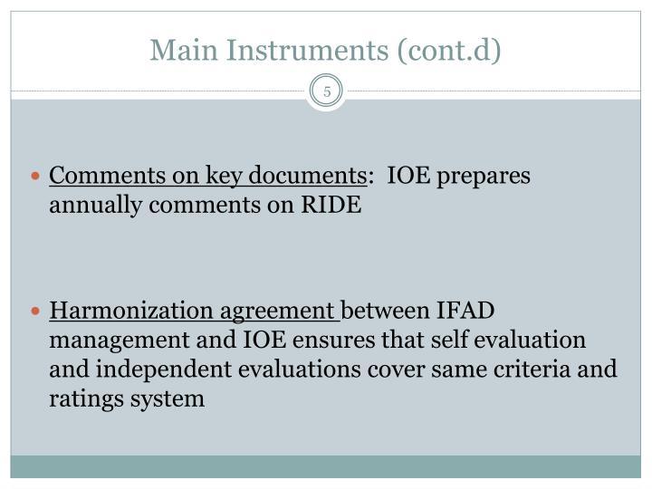 Main Instruments (cont.d)
