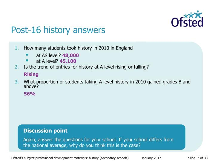 Post-16 history answers