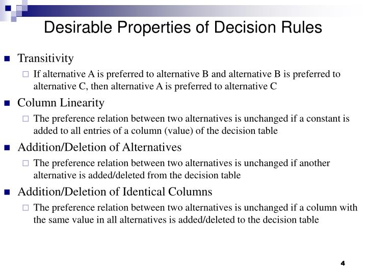 Desirable Properties of Decision Rules