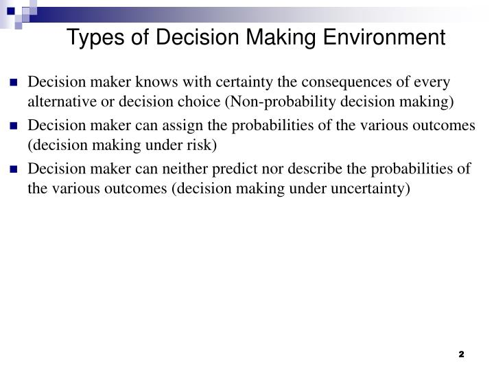 Types of Decision Making Environment