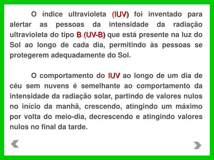 O índice ultravioleta
