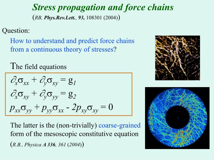 Stress propagation and force chains