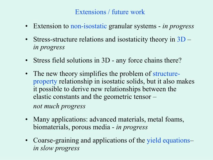 Extensions / future work