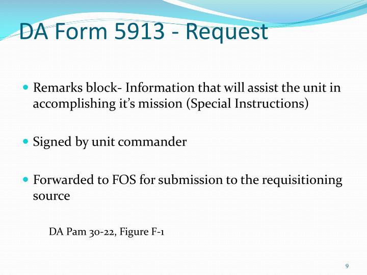 DA Form 5913 - Request