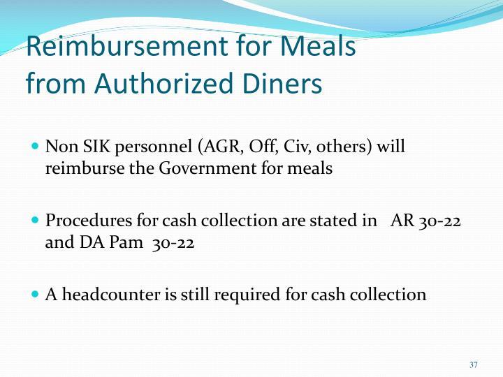 Reimbursement for Meals