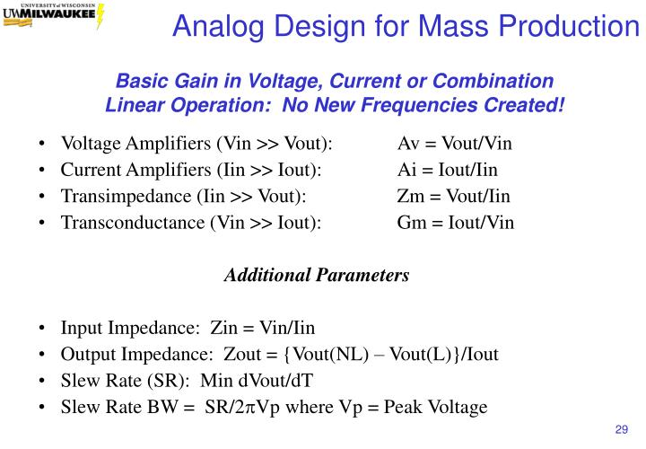 Basic Gain in Voltage, Current or Combination