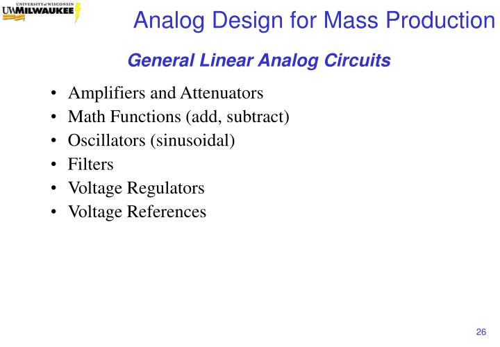 General Linear Analog Circuits