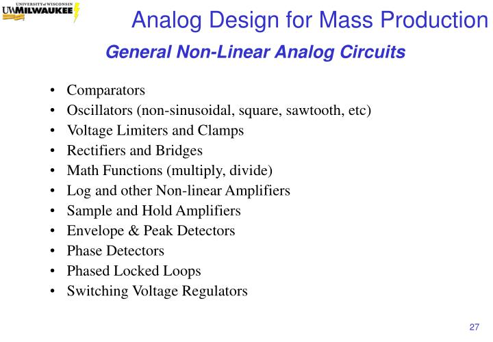 General Non-Linear Analog Circuits