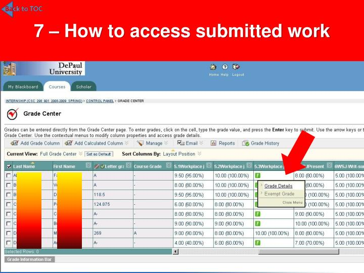 7 – How to access submitted work
