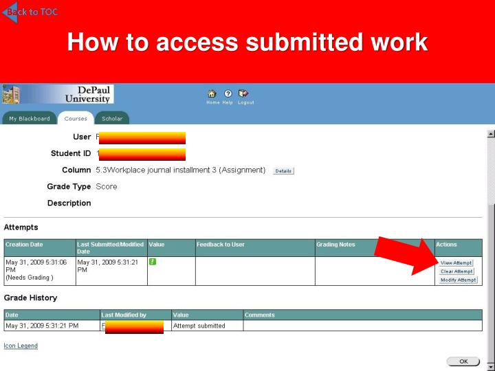 How to access submitted work